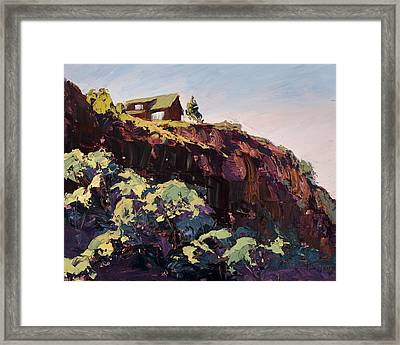 Cliff Hanger Framed Print by Mary Giacomini