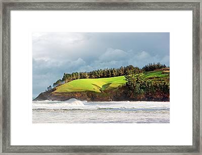 Cliffs In Lekeitio Coast. Basque Country Framed Print by Mikel Martinez de Osaba
