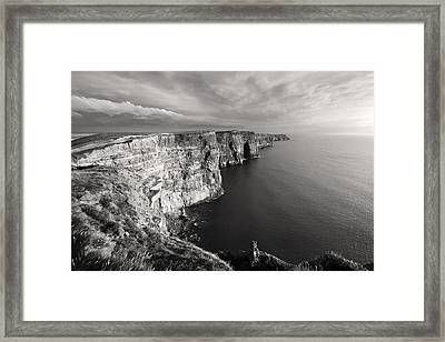Cliffs Of Moher Ireland In Black And White Framed Print by Pierre Leclerc Photography