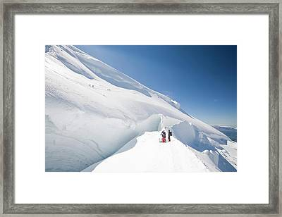 Climbers On Mont Blanc Du Tacul Framed Print by Ashley Cooper