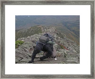 Climbing Mt. Katahdin Framed Print by Jonathan Welch