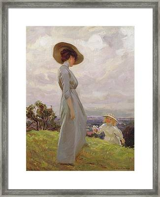 Climbing Up The Hillside Framed Print by Frederick Stead
