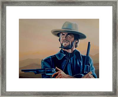 Clint Eastwood Painting Framed Print by Paul Meijering