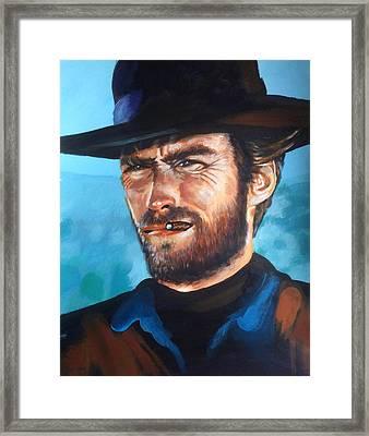 Clint Eastwood Portrait Framed Print by Robert Korhonen