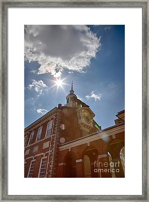 Clock At Independence Hall Framed Print by Kay Pickens