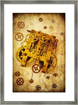 Clock Gears Framed Print by Garry Gay