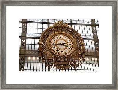 Clock In The Musee D'orsay. Paris. France Framed Print by Bernard Jaubert
