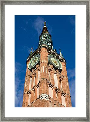 Clock Tower Of Main Town Hall In Gdansk Framed Print by Artur Bogacki