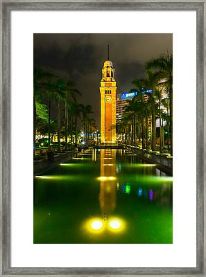 Clock Tower Of Old Kowloon Station Framed Print by Hisao Mogi