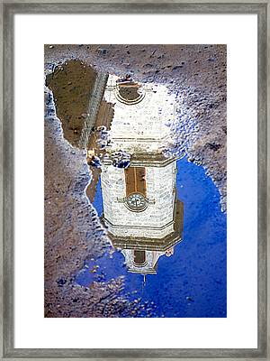 Clock Tower Reflected Framed Print by Valentino Visentini