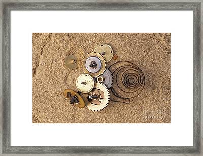 Clockwork Mechanism On The Sand Framed Print by Michal Boubin