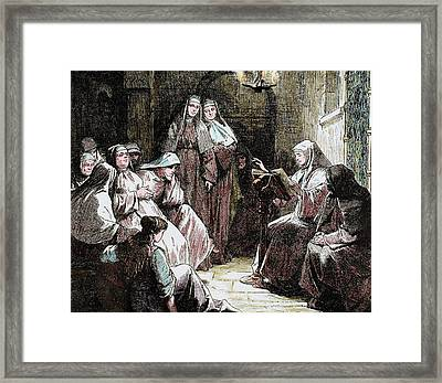 Cloistered Nuns Gospel Reading Framed Print by Prisma Archivo