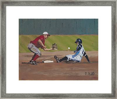 Close Play At Second Framed Print by Ron Gibbs