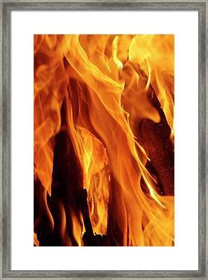 Close-up Of Fire Flames, Jodhpur, India Framed Print by Adam Jones