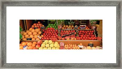 Close-up Of Fruits In A Market, Rue De Framed Print by Panoramic Images