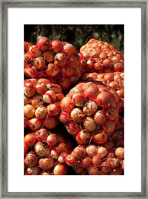 Close-up Of Sack Of Onions, Seclantas Framed Print by Panoramic Images