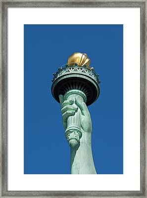 Close-up Of Statue Of Liberty Torch Framed Print by Brian Jannsen