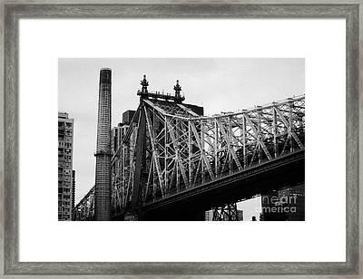 Close Up Of The Iron Work On The Queensboro Bridge New York City Framed Print by Joe Fox