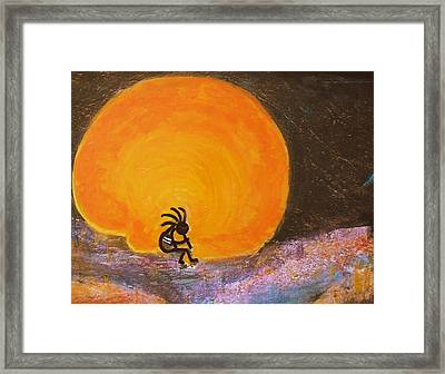 Closer View Kokopelli On A Marmalade Moon Night Framed Print by Anne-Elizabeth Whiteway