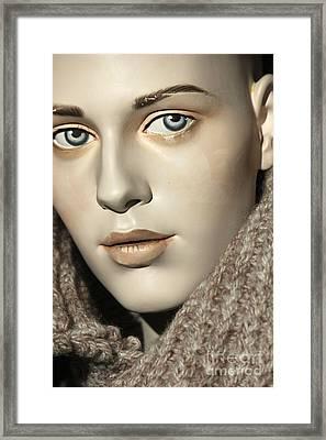 Closeup On Mannequin's Face Framed Print by Sophie Vigneault
