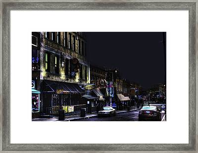 Memphis - Night - Closing Time On Beale Street Framed Print by Barry Jones