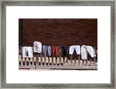 Clothes Drying In Durbar Square In Patan Nepal Framed Print by Robert Preston