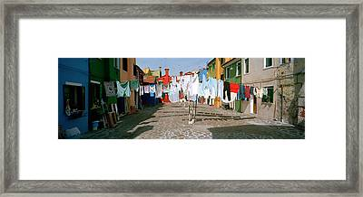 Clothesline In A Street, Burano Framed Print by Panoramic Images