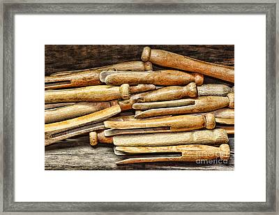 Clothespins Framed Print by Paul Ward