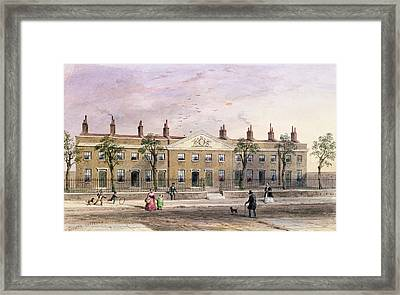 Clothworkers Almhouses In Frog Lane Wc On Paper Framed Print by Thomas Hosmer Shepherd