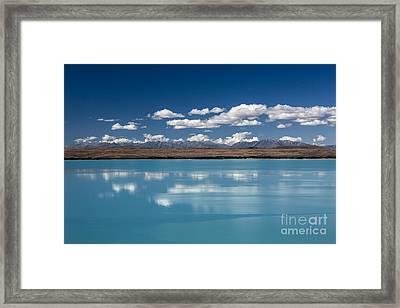 Cloud Reflection In Lake Pukaki Framed Print by Avalon Fine Art Photography