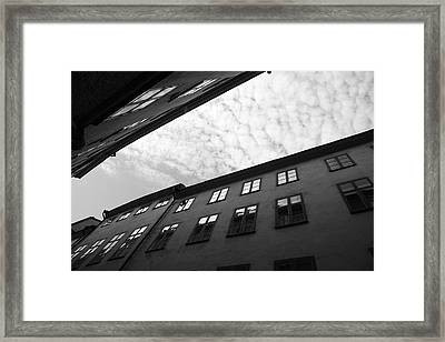 Clouds Over A Narrow Alley - Monochrome Framed Print by Ulrich Kunst And Bettina Scheidulin