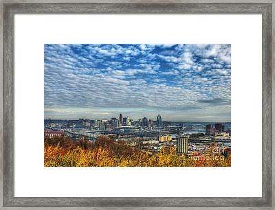 Clouds Over Cincinnati Framed Print by Mel Steinhauer