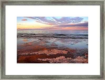 Clouds Reflections On Rock Beach Framed Print by Charline Xia