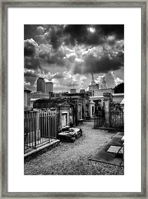 Cloudy Day At St. Louis Cemetery In Black And White Framed Print by Chrystal Mimbs