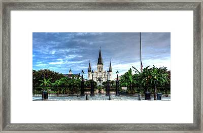 Cloudy Morning At  St. Louis Cathedral Framed Print by Chrystal Mimbs