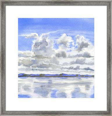 Cloudy Sky With Reflections Framed Print by Sharon Freeman