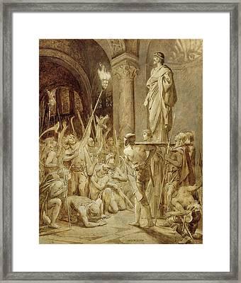 Clovis 465-511 Carried On His Shield Oil On Canvas Framed Print by Joseph Paul Blanc