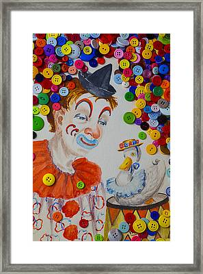 Clown And Duck With Buttons Framed Print by Garry Gay