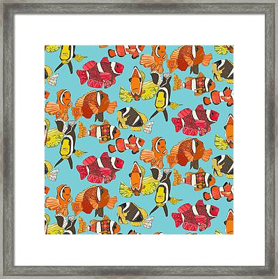 Clown Fish Blue Framed Print by Sharon Turner