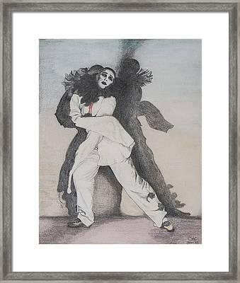 Clown With Shadows Framed Print by Carolyn Hubbard-Ford