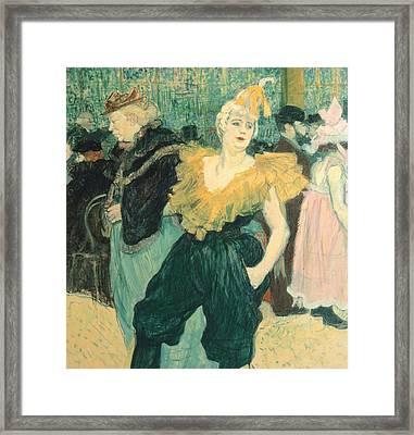 Clowness Cha-u-kao At Moulin Rouge Framed Print by Henri de Toulouse Lautrec