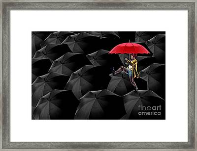 Clowning On Umbrellas 02 -a13 Framed Print by Variance Collections