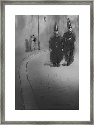 Clowns At Night Framed Print by H James Hoff