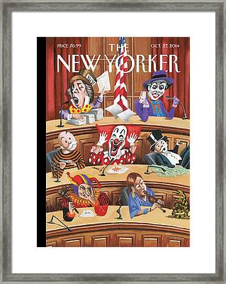 Clowns, Fools And Jokers Preside Over Congress Framed Print by Mark Ulriksen