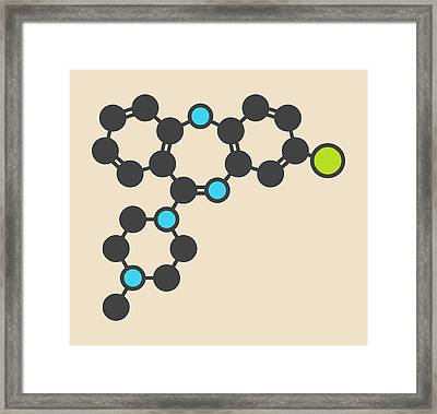 Clozapine Antipsychotic Drug Molecule Framed Print by Molekuul