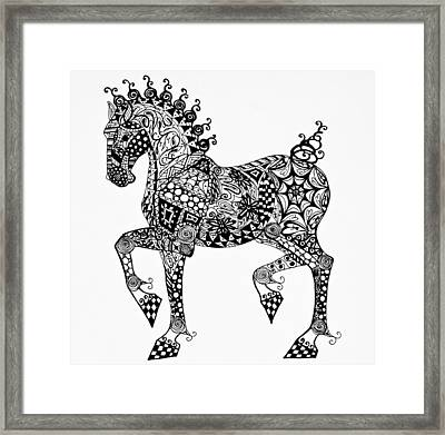 Clydesdale Foal - Zentangle Framed Print by Jani Freimann