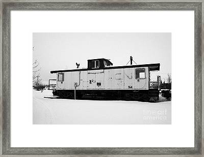 Cn Caboose At Cn Trackside Gardens Used As A Community Project Kamsack Saskatchewan Canada Framed Print by Joe Fox