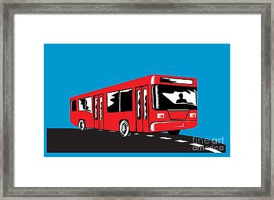 Coach Bus Shuttle Retro Framed Print by Aloysius Patrimonio