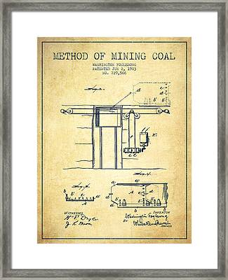 Coal Mining Patent From 1903- Vintage Framed Print by Aged Pixel