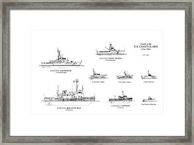 Coast Guard Cutters Of The 1990's Framed Print by Jerry McElroy - Public Domain Image